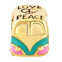 Charms Beads - GOLD EUROPEAN BEAD HEART CHARM BRACELET LOVE PEACE SYMBOL ANTIQUE BUS alternate image 2.