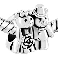 Charms Beads - SILVER PLATED LOVE BOUQUET TEDDY CARE BEAR CHARM BRACELET COUPLES alternate image 1.