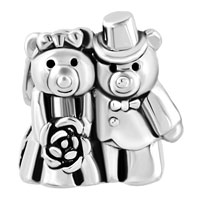 Charms Beads - SILVER PLATED LOVE BOUQUET TEDDY CARE BEAR CHARM BRACELET COUPLES alternate image 2.