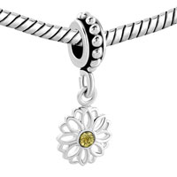 Charms Beads - DAISY FLOWER CHARMS BRACELETS LACE DANGEL TOPAZ YELLOW SWAROVSK alternate image 1.