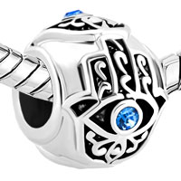 Charms Beads - BIRTHS BLUE CRYSTAL EVIL EYE CHARM ON ISLAMIC HAMSA HAND OF FATIMA alternate image 1.
