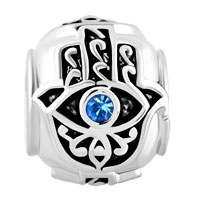 Charms Beads - BIRTHS BLUE CRYSTAL EVIL EYE CHARM ON ISLAMIC HAMSA HAND OF FATIMA alternate image 2.