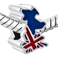 Charms Beads - JACK PATRIOTIC PROUD TO BE BRITISH FLAG COUNTRY OF UK MAP LUCKY BEAD alternate image 1.