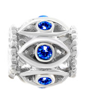 Charms Beads - SILVER BIRTHSTONE BLUE CRYSTAL FILIGREE EVIL EYE CHARM BRACELET alternate image 2.