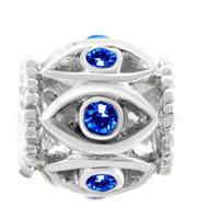 Charms Beads - SILVER BIRTHSTONE BLUE CRYSTAL FILIGREE EVIL EYE CHARM BRACELET alternate image 2.