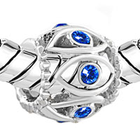 Charms Beads - SILVER BIRTHSTONE BLUE CRYSTAL FILIGREE EVIL EYE CHARM BRACELET alternate image 1.