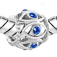 Charms Beads - SILVER BIRTHSTONE BLUE CRYSTAL FILIGREE EVIL EYE CHARM BRACELET alternate image 1.