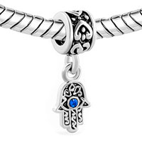 Charms Beads - BLUE EVIL EYE HAMSA HAND OF FATIMA DANGLE CHARM BRACELET SPACER HEART alternate image 1.