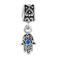 Charms Beads - BLUE EVIL EYE HAMSA HAND OF FATIMA DANGLE CHARM BRACELET SPACER HEART alternate image 2.