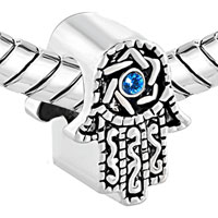 Charms Beads - SAPPHIRE BLUE BIRTHSTONE STAR OF DAVID ON ISLAMIC HAMSA CHARM BRACELET alternate image 1.