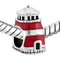 Charms Beads - ANTIQUE'D BEACON OF HOPE RED LIGHTHOUSE CHARM FOR BRACELET TOWER BEAD alternate image 1.