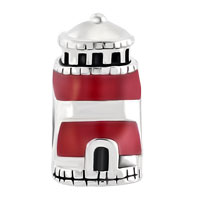 Charms Beads - ANTIQUE'D BEACON OF HOPE RED LIGHTHOUSE CHARM FOR BRACELET TOWER BEAD alternate image 2.