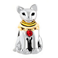 Charms Beads - LIGHT RED RHINESTONE ANCIENT EGYPTIAN BASTET CAT CHARM BRACELET alternate image 2.