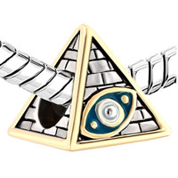 Charms Beads - ANTIQUE MASONIC EVIL EYE ON EGYPTIAN PYRAMIDS BEADS CHARMS BRACELETS FIT ALL BRANDS alternate image 1.