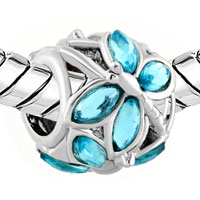 Charms Beads - PUGSTER?  AQUAMARINE BLUE ELEMENTS CRYSTAL FOR BEADS CHARMS BRACELETS FIT ALL BRANDS alternate image 1.