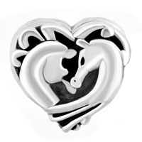 Charms Beads - FILIGREE HEART COUPLES HORSE BEST FRIENDS FOREVER FOR BEADS CHARMS BRACELETS FIT ALL BRANDS alternate image 2.