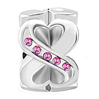 Charms Beads - BIRTHSTONE CHARMS ROSE PINK ELEMENTS CRYSTAL HEART INFINITY SYMBOL LOVE SPACER BEAD alternate image 2.