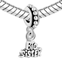 Charms Beads - BIG SISTER SPACER GIFT FROM LITTLE DANGLE EUROPEAN BEADS FIT ALL BRANDS alternate image 1.