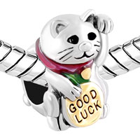Charms Beads - 3 D GOOD LUCKY CAT MANEKI NEKO ANIMAL BEADS CHARMS BRACELETS FIT ALL BRANDS alternate image 1.