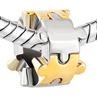 Charms Beads - TWO PUZZLE PIECE CHARM BRACELET SPACER EUROPEAN BEAD BRACELETS alternate image 1.
