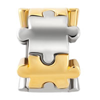 Charms Beads - TWO PUZZLE PIECE CHARM BRACELET SPACER EUROPEAN BEAD BRACELETS alternate image 2.