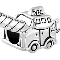 Charms Beads - SILVER PLATED NEW YORK CAR TAXI TRAVEL BEADS CHARMS FOR BRACELETS alternate image 1.
