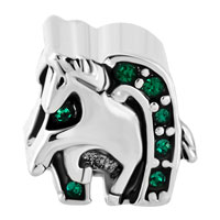 Charms Beads - EMERALD GREEN CRYSTAL LUCK HORSE CHARM BRACELET SHOE EQUESTRIAN BEAD alternate image 2.