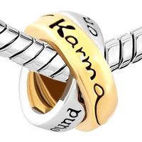 Charms Beads - LINK CHARM FOR COUPLES RING WORDS LKARMA WHAT GOES AROUND COMES AROUND alternate image 1.