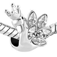 Charms Beads - CLEAR WHITE CRYSTAL FEATHER CROWN SWAN PRINCESS BEADS CHARMS BRACELETS FIT ALL BRANDS alternate image 1.
