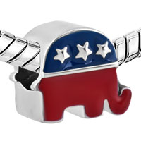 Charms Beads - SILVER PLATED THE ELEPHANT AMERICAN PARTY USA FLAG BEADS CHARMS BRACELETS FIT ALL BRANDS alternate image 1.