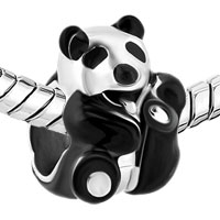 Charms Beads - SILVER PLATED BLACK WHITE PANDA LOVE ANIMAL BEADS CHARMS BRACELETS FIT ALL BRANDS alternate image 1.