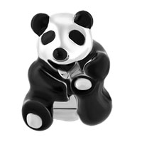 Charms Beads - SILVER PLATED BLACK WHITE PANDA LOVE ANIMAL BEADS CHARMS BRACELETS FIT ALL BRANDS alternate image 2.