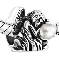 Charms Beads - FRESHWATER PEARL FAIRY FLOWER ANGEL SILVER/ P BEADS CHARMS BRACELETS FIT ALL BRANDS alternate image 1.