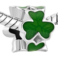 Charms Beads - SILVER PLATED GREEN THREE LEAF CLOVER SHAMROCK BEADS CHARMS BRACELETS FIT ALL BRANDS alternate image 1.