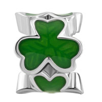 Charms Beads - SILVER PLATED GREEN THREE LEAF CLOVER SHAMROCK BEADS CHARMS BRACELETS FIT ALL BRANDS alternate image 2.