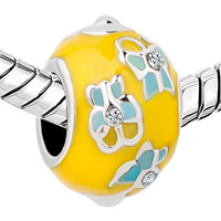 New Arrivals - EASTER FLOWER YELLOW FABERGE EGG CRYSTAL BEADS CHARMS BRACELETS FIT ALL BRANDS alternate image 1.