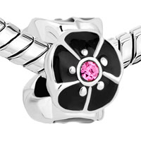 New Arrivals - SILVER/ P BLACK OPEN PETAL FLOWER FIT ALL BRANDS BEADS CHARMS BRACELETS alternate image 1.