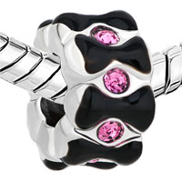 New Arrivals - SILVER/ P ROSE PINK CRYSTAL BLACK BOWKNOT SPACER BEADS CHARMS BRACELETS FIT ALL BRANDS alternate image 1.