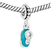 New Arrivals - AQUAMARINE BLUE SHOES CRYSTAL DANGLE FOR BEADS CHARMS BRACELETS FIT ALL BRANDS alternate image 1.