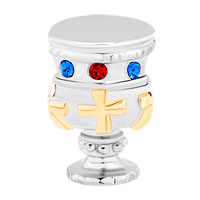 Charms Beads - HOLY GRAIL WITH BLUE AND RED CRYSTAL CZ FOR BEADS CHARMS BRACELETS FIT ALL BRANDS alternate image 2.