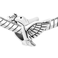 New Arrivals - SILVER PLATED PEACE DOVE WITH OLIVE BRANCH FOR BEADS CHARMS BRACELETS FIT ALL BRANDS alternate image 1.