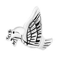 New Arrivals - SILVER PLATED PEACE DOVE WITH OLIVE BRANCH FOR BEADS CHARMS BRACELETS FIT ALL BRANDS alternate image 2.