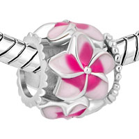Charms Beads - NEW PINK FLOWER ENAMEL FOR BEADS CHARMS BRACELETS FIT ALL BRANDS alternate image 1.