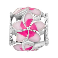 Charms Beads - NEW PINK FLOWER ENAMEL FOR BEADS CHARMS BRACELETS FIT ALL BRANDS alternate image 2.