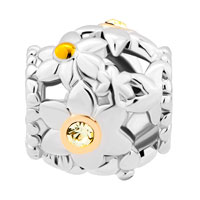 New Arrivals - FLOWER PAVE WITH CLEAR YELLOW CRYSTAL CZ FOR BEADS CHARMS BRACELETS FIT ALL BRANDS alternate image 2.