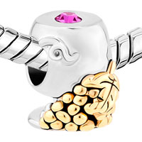 Charms Beads - 14 K GRAPE SILVER BUCKET PINK CRYSTAL GOLD PLATED BEADS CHARMS BRACELETS FIT ALL BRANDS alternate image 1.