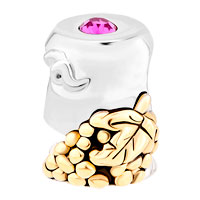 Charms Beads - 14 K GRAPE SILVER BUCKET PINK CRYSTAL GOLD PLATED BEADS CHARMS BRACELETS FIT ALL BRANDS alternate image 2.
