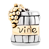Charms Beads - SILVER WITH 14 K VINE WINE CASK GOLD PLATED BEADS CHARMS BRACELETS FIT ALL BRANDS alternate image 2.