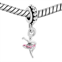 New Arrivals - DANCER PINK CRYSTAL DRESS SILVER TOEN DANGLE FOR BEADS CHARMS BRACELETS FIT ALL BRANDS alternate image 1.