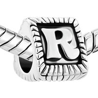 Charms Beads - ANTIQUE INITIAL LETTER ALPHABET R FOR BEADS CHARMS BRACELETS FIT ALL BRANDS alternate image 1.